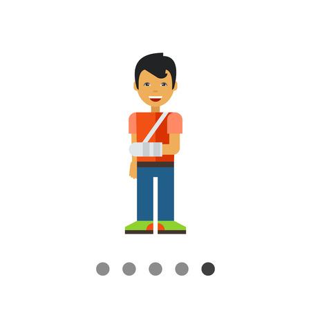 broken arm: Multicolored vector icon of little boy with broken arm