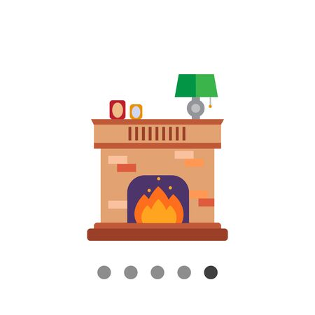 woodpile: Vector icon of brick fireplace with flame decorated with photo frames and lamp