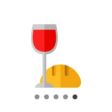 Icon of Christian ritual symbols, glass of red wine and loaf of bread