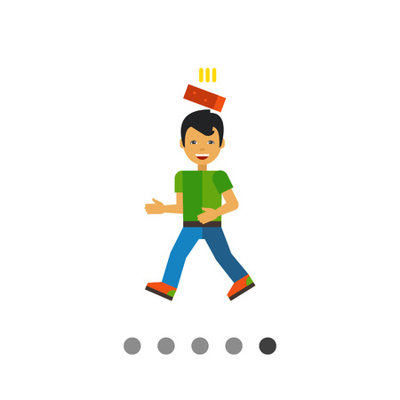 falling down: Multicolored vector icon of brick falling down on head Illustration