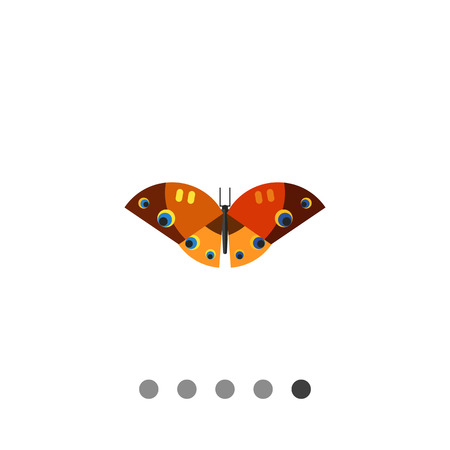 feeler: Multicolored vector icon of brown orange butterfly with yellow stripes and black, yellow, blue spots