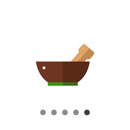 ready to eat: Multicolored vector icon of mortar with pestle in it, isolated on white