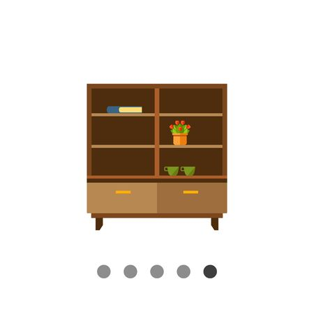 bookcase: Multicolored vector icon of brown wooden bookcase with potted flower, book and cups on shelves