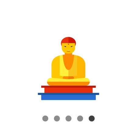Image of golden Buddha statue sitting on colored pedestal Illustration