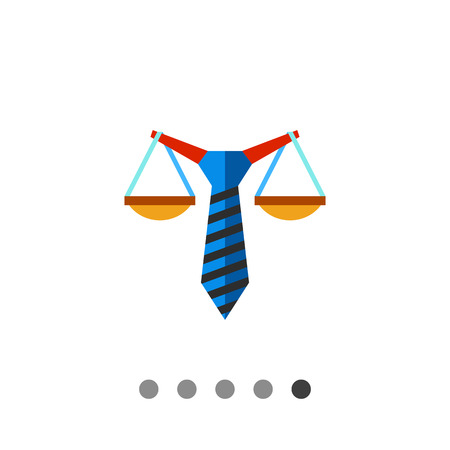 Multicolored vector icon of stylized scales balancing on tie representing business law concept