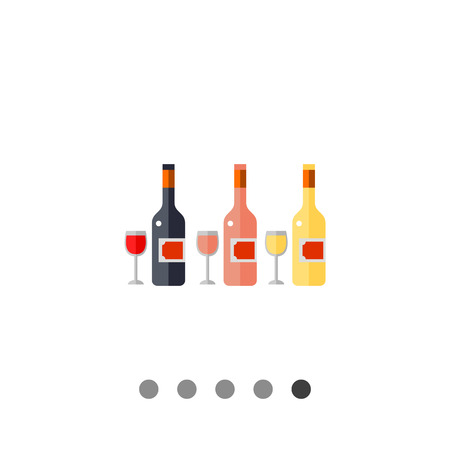 wine testing: Bottles of rose, white and red wine and wine glasses. Party, bar, testing. Wine concept. Can be used for topics like lifestyle, wine production, spirits.