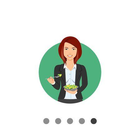 medium length hair: Female character, portrait of smiling businesswoman eating green salad Illustration