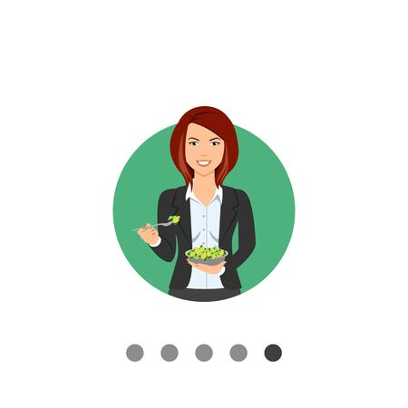 Female character, portrait of smiling businesswoman eating green salad Illustration