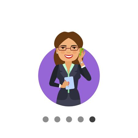 light brown hair: Female character, portrait of businesswoman in glasses talking on phone and holding notebook