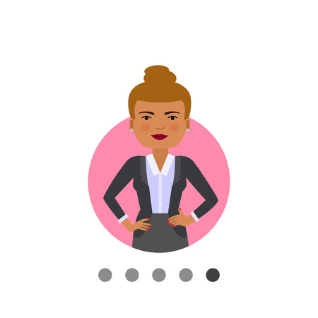 Female character, portrait of standing businesswoman with her hands akimbo Illustration