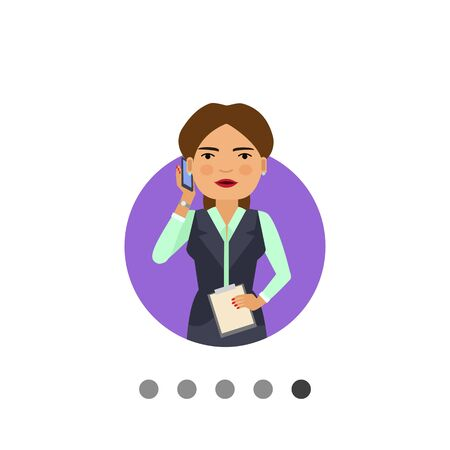 Female character, portrait of smiling businesswoman holding clipboard and talking on phone Illustration