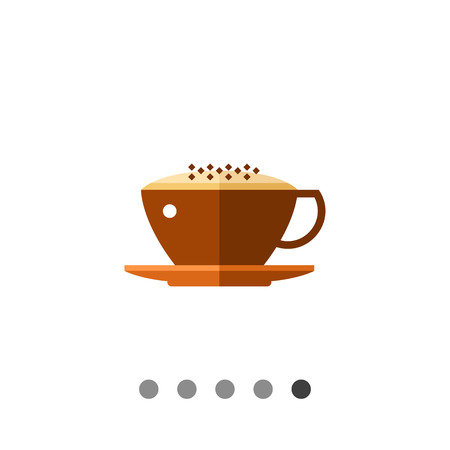 Icon of glass cup of cappuccino, milk coffee with foam Illustration