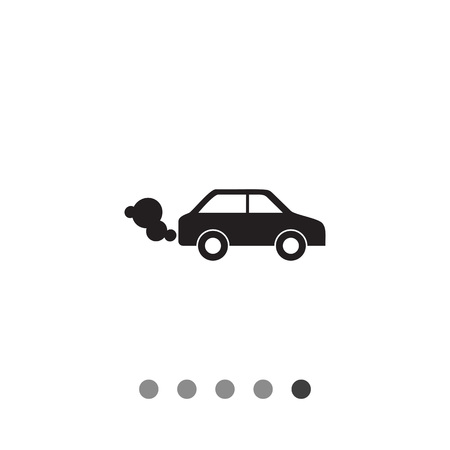 Vector icon of car emitting exhaust fumes Illustration
