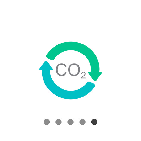 dioxide: Vector icon of carbon dioxide formula in circle made of arrows Illustration