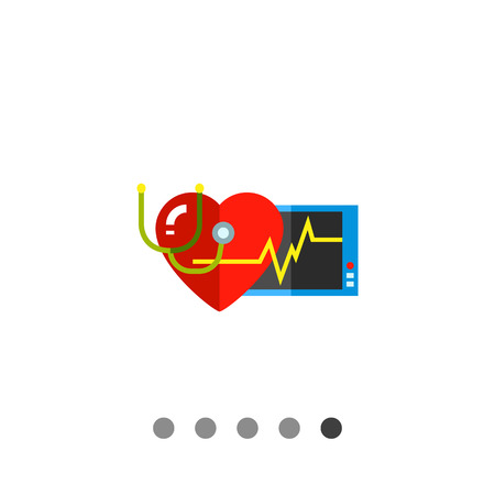 cardiac: Multicolored vector icon of human heart, stethoscope, monitor and cardiac rate representing cardiology concept