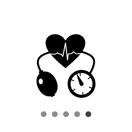 tonometer: Cardiology simple icon. Vector illustration of heart with heartbeat rate and tonometer