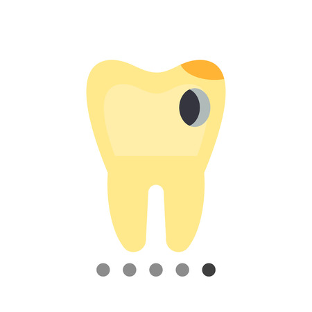 carious cavity: Caries flat icon. Multicolored vector illustration of carious tooth