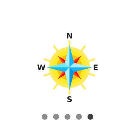 Multicolored vector icon of compass rose with eight directions representing cartography concept