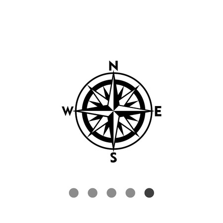 Monochrome vector icon of compass rose with sixteen directions representing cartography concept