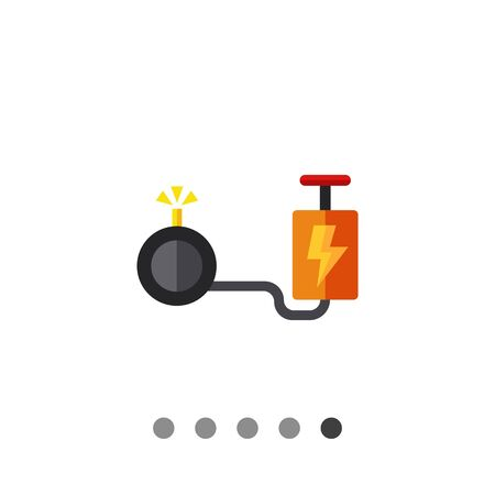cartoon bomb: Multicolored vector icon of cartoon bomb with detonator