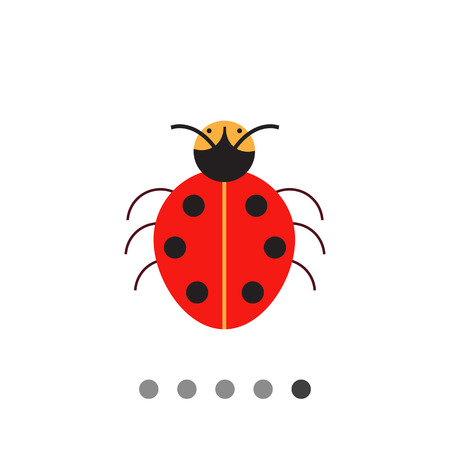 ladybird: Multicolored vector icon of cartoon ladybird, top view