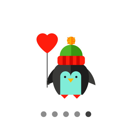 Multicolored vector icon of cute cartoon penguin with balloon in form of heart
