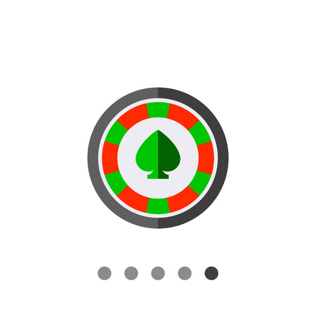 wager: Multicolored vector icon of round casino chip with green spade mark