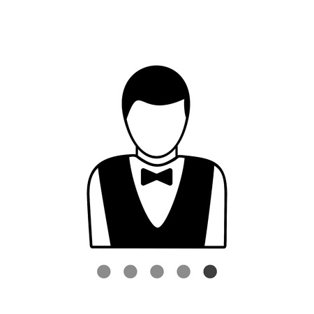 features: Monochrome simple icon of casino croupier upper part, male without features on face
