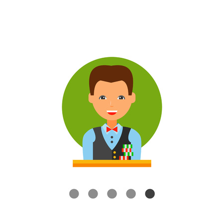 croupier: Multicolored vector icon of casino croupier with a stack of chips in front of him