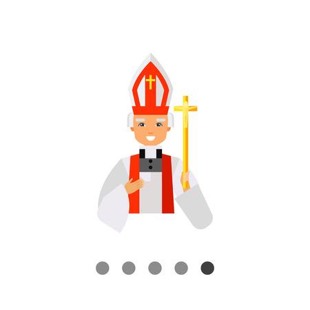 solemn: Icon of smiling Catholic priest wearing solemn white dress and hat and holding golden crucifix Illustration