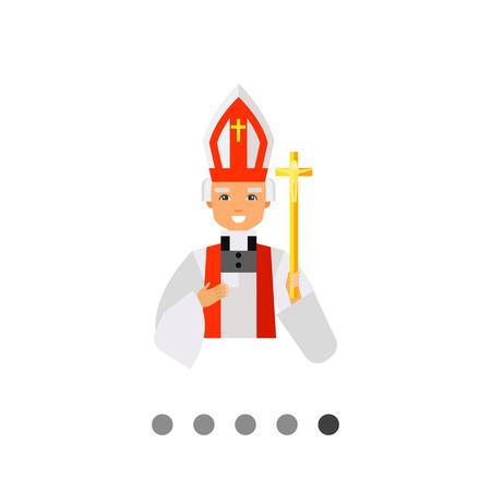 sotana: Icono de la sonrisa cura católico con un vestido blanco y solemne sombrero y sosteniendo el crucifijo de oro Vectores