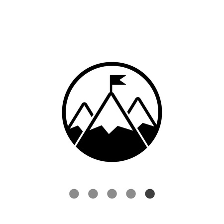 contest: Mountain peak with flag. Challenge, contest, inspiration. Challenge concept. Can be used for topics like business, gamification, management