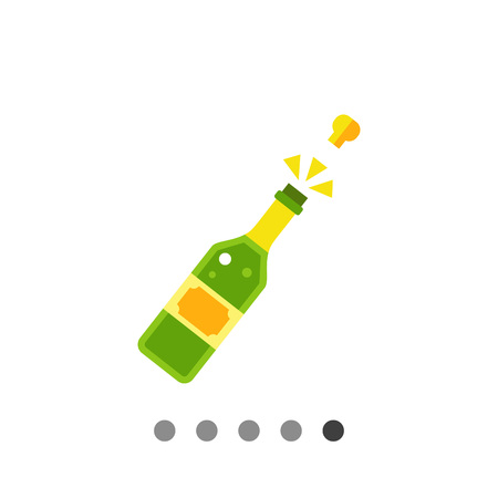 uncorked: Multicolored vector icon of champagne bottle with open cork Illustration