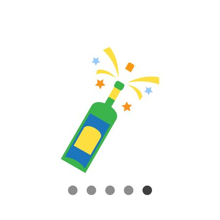 Icon of champagne bottle being opened with sparks and splashes