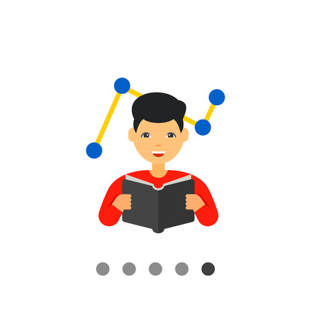 adapting: Man reading book with graph in background. Innovation, idea, smart. Changes adaptation concept. Can be used for topics like business, management, marketing. Illustration