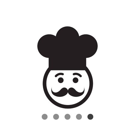 nice guy: Vector icon of chef face wearing moustache and hat Illustration