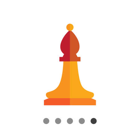tactic: Multicolored vector icon of orange chess bishop