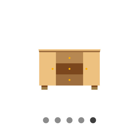 chest of drawers: Multicolored vector icon of wooden chest of three drawers