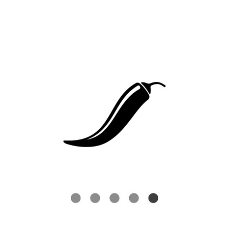 pimento: Monochrome vector icon of long curved chili pepper pod Illustration
