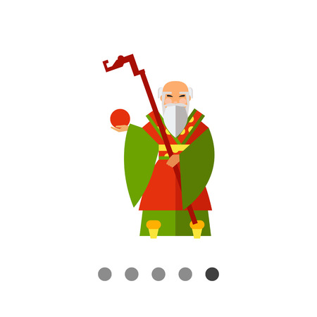 Multicolored vector icon of Chinese old wise man holding stick and fruit Illustration