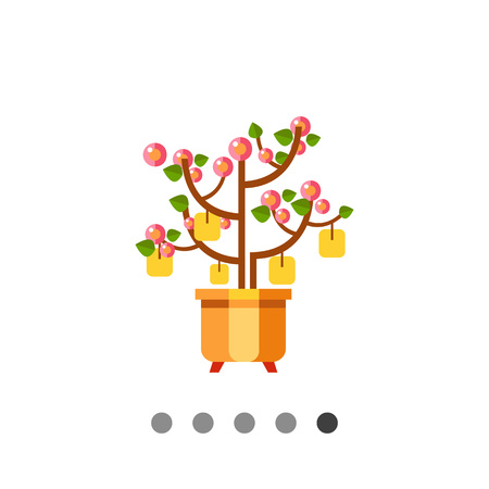 peach tree: Multicolored vector icon of Chinese New Year peach tree with packets with wishes