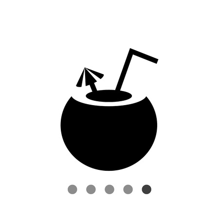 Icon of cocktail served in coconut with straw and umbrella Illustration