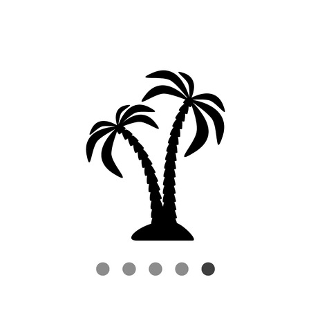 islet: Monochrome vector icon of pair of coconut palms on islet