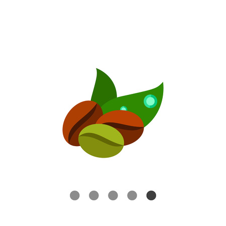 Icon of two brown and one green coffee beans and two green leaves Illustration