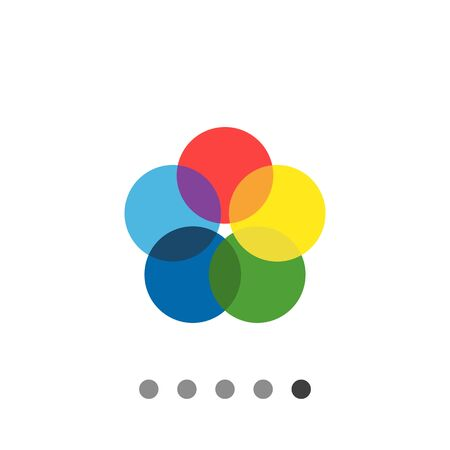 Vector icon of five multicolored overlapping circles