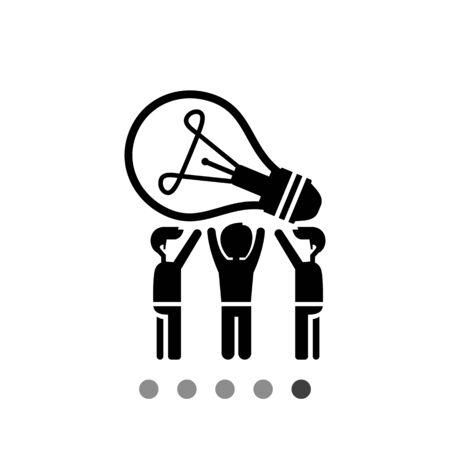 in common: Common idea vector icon. Black and white illustration of people having common idea