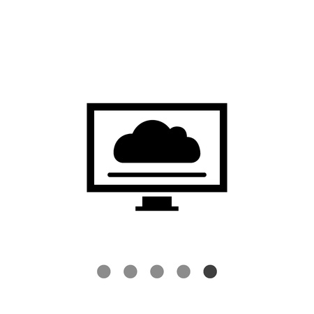 looking at computer screen: Icon of computer monitor with cloud screensaver