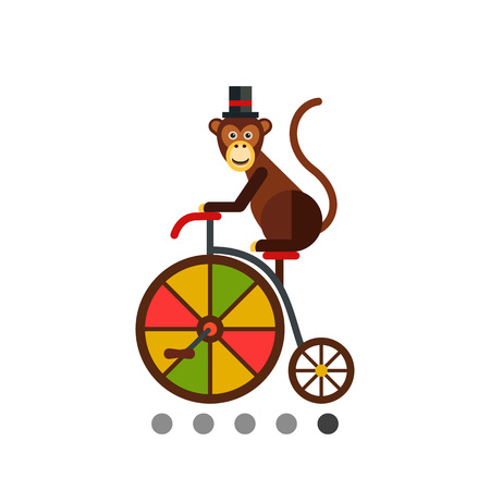 Multicolored vector icon of brown funny monkey riding bicycle Illustration