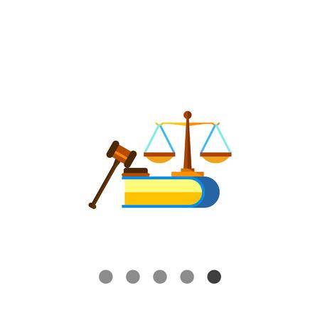Bunte Vektor-Symbol von Waagen, Buch und Richter Hammer der Bürgerrechte Vektorgrafik