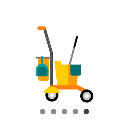 Multicolored vector icon of yellow janitor cart with cleaning equipment